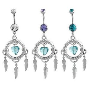 Dreamcatcher Belly Ring Silver Feather Heart Tanzanite Turquoise 14g Sexy Clear