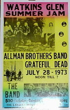 """Watkins Glen Summer Jam Concert Poster 1973 Allman Brothers Grateful Dead 14x22"""""""