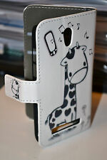 Giraffe Design for HTC Desire 500 Leather Wallet Card Cash Case Cover