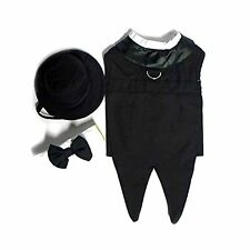 Doggie Design Black Formal Tuxedo Dog Harness with Tails, in Size Medium