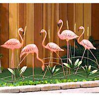 "5 Metal Flamingo Sculpture Lawn Yard Stake Bird Garden Decor 28.5"" Tall"