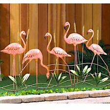 "5 Metal Flamingo Sculpture Lawn Yard Stake Bird Garden Decor 28.5"" Tall"
