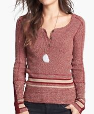 NEW Free People Sock Monkey Sweater Pullover Red Stripe Knit Top S Henley