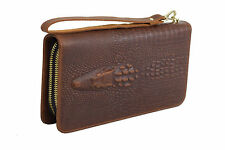 Miami Heat * Crocodile Alligator Pochette Portefeuille XL Fait Main Cuir Naturel