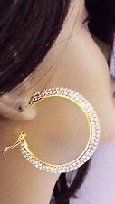 2 INCH HOOP EARRINGS DOUBLE PAVED RHINESTONE CRYSTAL GOLD TONE HOOP EARRINGS