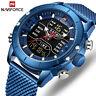 NAVIFORCE Men Watch Luxury Sport Quartz LED Digital Wristwatches Stainless Steel