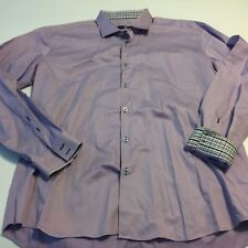 "Mens Stone Rose Red Rivet Button Down LS Shirt Purple Sz 6 50"" Flip Cuff"