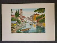 Original Bela Sziklay 1911-1981 Hand colored Etching ITALY VENICE Pencil Signed