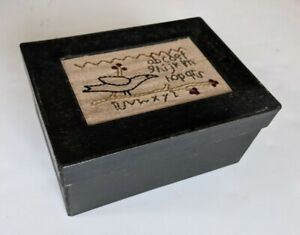 Embroidered Sampler Box Cardboard Paint Black Bird 6.75x4.75x3 In Storage Crafts