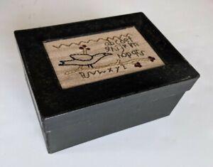 Embroidered Sampler Box Cardboard Paint Black Bird 6.75x4.75x3 In Storage Crafts