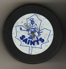 New Market Saints In Glas Co Approved Ahl Hockey Game Puck CanVic Blu Leaf Saint