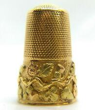 Antique 15k Gold Thimble: Britain's Symbols *Rose Thistle & Shamrock* c.1860