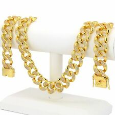 """14k Gold Plated Iced Out Hip Hop Cz 18mm 30"""" Chain Heavy Miami Cuban Necklace"""