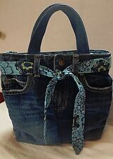 Upcycled Denim Jeans Lunch Bag/Lunch Tote/Insulated Cooler/Recessed Zipper