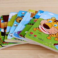 New 9Pcs/Set Cute Cartoon Animals Wooden Puzzle Jigsaw Kids Development Toy Gift