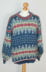 Vintage Dale of Norway Pure New Wool Scandinavian Chunky Knitted Jumper Size M