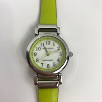Anne Klein 10/9971 Silver Tone Green Leather Strap Womens Watch New Battery