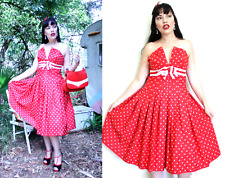 RED and WHITE SPOT Polka Dot Dress Rd4 Full 50s skirt grosgrain shelf bust XS 8