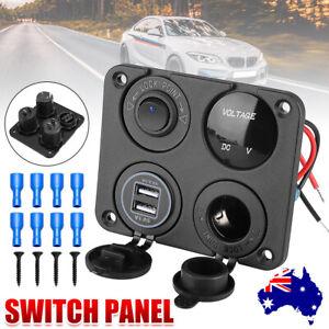 12V Switch Panel 2 USB Charger Cigarette Lighter Socket Plug Voltmeter Car Boat
