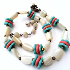 Vintage Miriam Haskell Glass Necklace Flower Beads Coral Teal