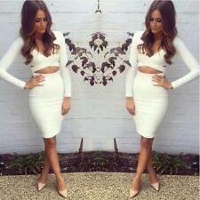 Sexy WHITE HALTER Skirt MIDI Dress Evening Party Club Long Sleeve Dress Sundress