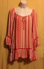 Vintage America Blues women's orange on or off shoulder peasant top 2X $74.50