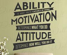 Ability Motivation Attitude Determines Lou Holtz Quote Wall Decal Vinyl Art Q92