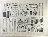Original 1870's German Print - Weapons & Armor of the West Before the Crusades