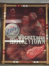 Miller Lite Detroit Red Wings The Hockey Beer For HockeyTown Mirror -Framed Rare