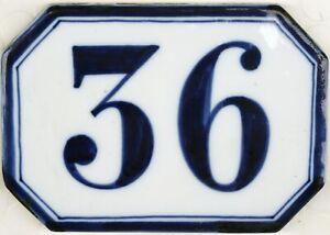Antique French house number 36 large ceramic porcelain bone china Ginori C19th