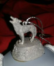 Two Wolves Head Round Glitter Ornament 1999 Bradford Edition - Eyes of the Wild.