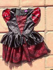 Renaissance Spider Queen fancy Dress Costume red/black web, puff sleeve girl 7/8