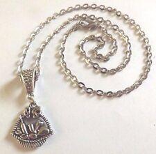 collier chaine argenté 46 cm avec pendentif panier de pique nique 20x20 mm