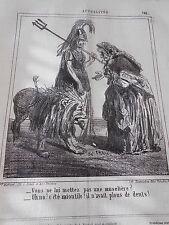 Caricature 1864 Litho Le Lion pas de Muselière ? inutile il n'avait plou de dent
