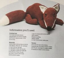 "Knitting Pattern For  Toy Animal Fox  Approx 30"" In Length"
