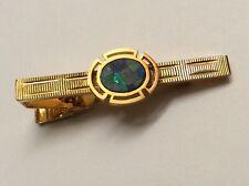 Natural Australian Opal Mosaic Gold Tone Tie Clip