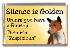"Basenji Dog Fridge Magnet ""Silence is Golden unless you have ....."" by Starprint"