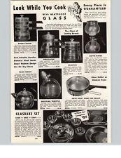1942 PAPER AD Glasbake Bakelite Handles Coffee Maker Double Boiler Tea Kettle