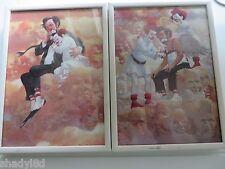 ROBERT OWEN CLOWN ART Collectibles Framed 2 @  5 x 7 Signed