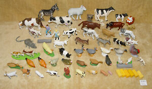 HUGE BULK COLLECTION OF 62 PLASTIC TOY FARM & DOMESTIC ANIMALS COWS GOATS FARMER