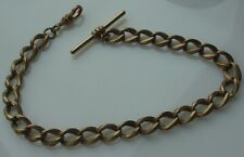 Vintage Gold Tone Pocket Watch Chain & Bar Large Twisted Triple Link