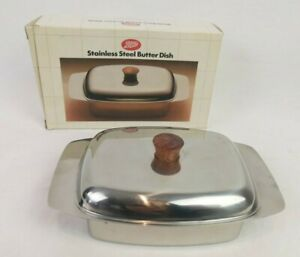 Boots Stainless Steel Butter Dish With Lid RETRO Vintage Mid Century - P241