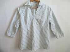 DUO MATERNITY womens stretch blouse shirt L LARGE striped COTTON half collar 3/4