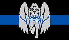 """Thin Blue Line Decal 3"""" x 5""""Angel folded US flag in Thin Blue Line Window Decal"""