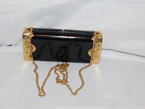 RODO BLACK LEATHER AND GOLD ACCENTS CLUTCH/SHOULDER PURSE
