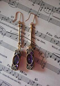 New purple drop earrings Art deco gold oblong