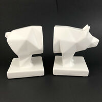 Ceramic Matte White Cubist Pig Hog Bookends Earthenware Pre-owned Excellent