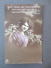 ANTIQUE Postcard EASTER Greetings E A Schwerdtfeger Beautiful Edwardian Girl RP