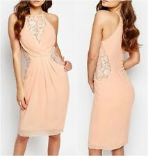 TFNC Midi Dress with Wrap Front and Lace Detail Nude UK 8 US 4 EUR 36 (ca14)