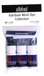 Ashford Wool Dye Rainbow Collection - 3 Colours x 10g AWDRC